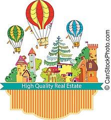 町, 都市, balloon, 空気, 暑い, カード