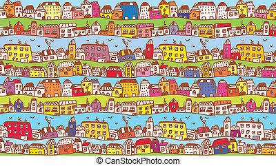 町, 面白い, 子供, 背景, 家