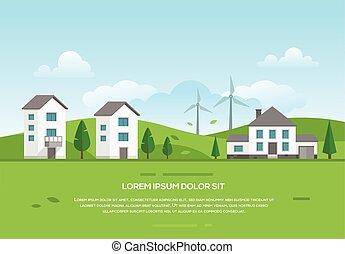 町, 風車, 現代, -, ecofriendly, イラスト, ベクトル