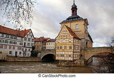 町, bamberg(germany), 古い, ホール