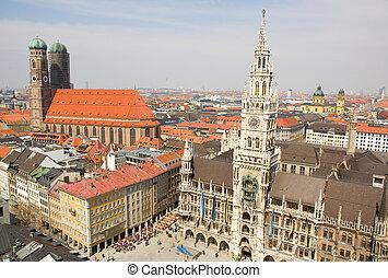町, (bavaria, 航空写真, munchen, frauenkirche, germany), 新しい, ホール...