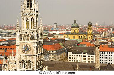 町, (bavaria, 航空写真, munchen, germany), 新しい, ホール, 光景