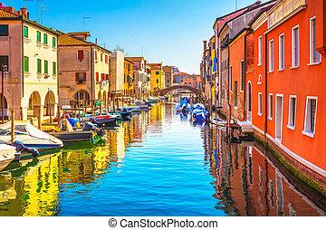 町, chioggia, イタリア, 水, veneto, ベニス市民, church., 礁湖, 運河