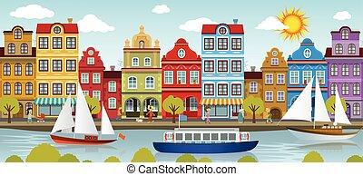 町, city), 古い, 川, (european