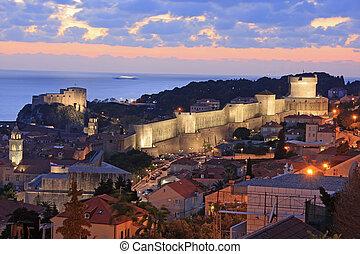 町, croatia, 古い, 夜, dubrovnik