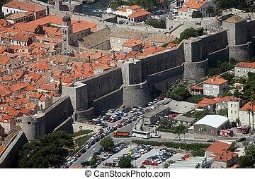 町, dubrovnik, 壁, 古い 都市