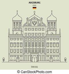 町, germany., ランドマーク, ホール, アイコン, augsburg
