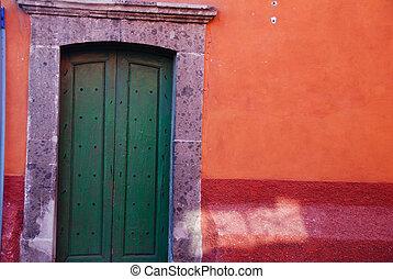 町, guanajuato., ドア, san, カラフルである, mexico., de, 無作法, miguel, allende