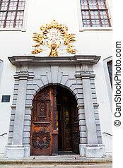 町, jesuit, 古い, bratislava, ドア, 教会