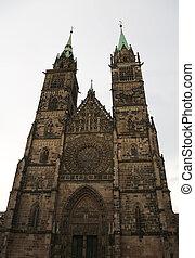 町, nuremberg, 古い, lawrence, ドイツ, 聖者, 教会