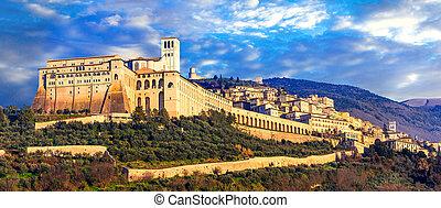 町, religios, assisi, 印象的, イタリア, 中世, -, 中心, umbria.