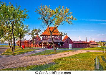 町, subotica, 木製である, 浜, 湖, serbian, palic, 女性, 光景