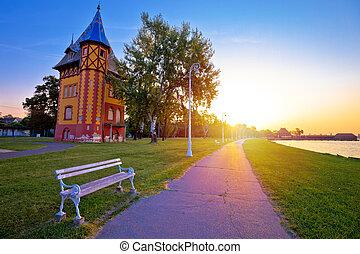 町, subotica, 湖, palic, 日の出, 光景