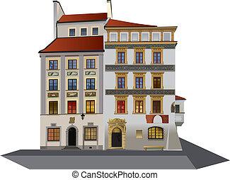 町, twobuildings, 広場, 古い, ワルシャワ