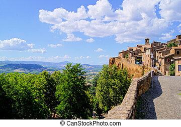 町, umbria, イタリア, 中世, 丘