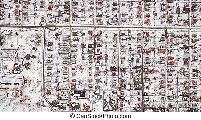 町, winter., 郊外, 空中写真
