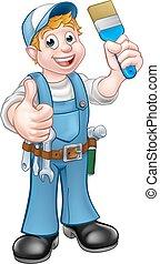 画家, handyman, 室内装飾家, ペイントブラシ, 保有物