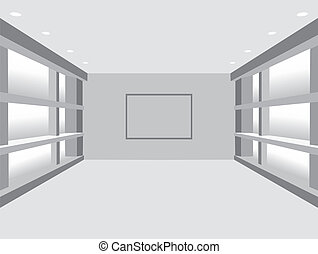画廊, interior:, 矢量, illustrati