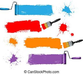 画笔, 同时,, 涂料滚筒, 同时,, 涂描, banners., 矢量, illustration.