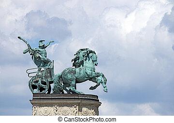 界標, 匈牙利, 布達佩斯, 廣場,  heroes'