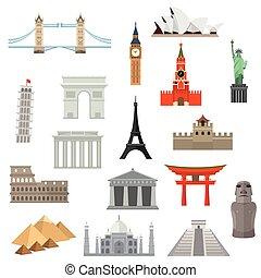 界標, 建築學, 或者, icon., 紀念碑