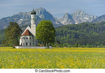 界標, 教堂, 街, coloman, 在, bavaria, 德國, 在, 春天