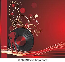 留聲机, record., retro, 背景