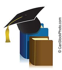 畢業帽子, 以及, 書
