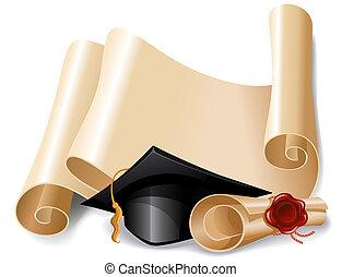 畢業帽子, 以及, 畢業証書