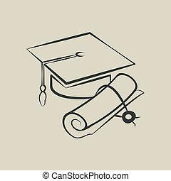 畢業帽子, 以及, 畢業証書, -, 矢量, 插圖