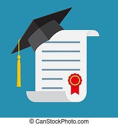 畢業帽子, 以及, diploma.