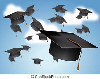 畢業帽子, 投擲, 在空中