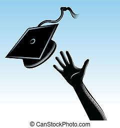 畢業生, 帽子, 拋
