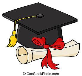 畢業生, 黑色, 帽子, 由于, 畢業証書