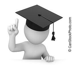 畢業生, 點, attention!, 向上, 手指