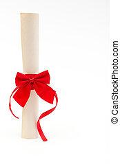 畢業証書, 由于, 紅的緞帶