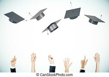 畢業, 概念, 光, 背景