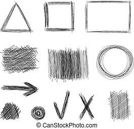 略述, 元素, 被隔离, 彙整, 背景。, 矢量, 設計, 圖, 白色, 雜文