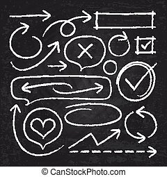 略述, 圖表, 集合, 黑板, 被隔离, 手, 粉筆, 矢量, 箭, 框架, 畫, 白色圈子, 元素
