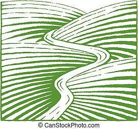 略述, 小山, vectorized, 插圖, 綠色, 墨水, 河