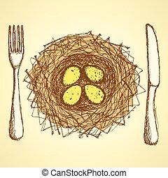 略述, 巢, 盤子, 由于, 叉子, 以及, 刀, 在, 葡萄酒, 風格
