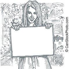 略述, 愉快的婦女, 藏品, 空白, 白色, 卡片, 針對, 愛, 故事, 背景