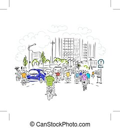 略述, ......的, 交通, 路, 在, 亞洲人, 城市, 由于, 摩托車, 為, 你, 設計