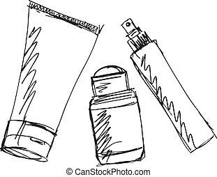 略述, ......的, 化妝品, 分發者, 以及, tube., 矢量, 插圖