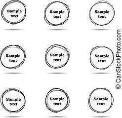略述, 矢量, 手, circles., 框架, 畫, 線, 雜文, 輪