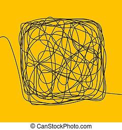 略述, 線, square., clew, 插圖, 圖畫, 混亂, vector., intellect., 混亂狀態, knot., scrawl