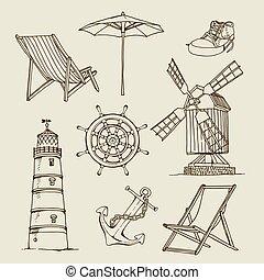 略述, 葡萄酒, 手, 畫, 矢量, 旅行, 集合