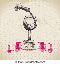 略述, 葡萄酒, 插圖, 手, 背景。, 畫, 酒