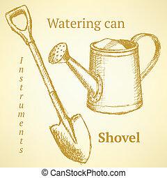 略述, 鏟, 罐頭, 上水, 矢量, 背景