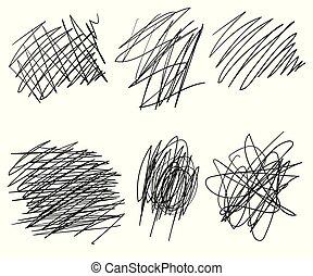 略述, 集合, 混亂, 摘要, 形狀。, 混亂狀態, circle., 背景。, 心不在焉地亂寫亂畫, 被隔离, 圈子, 黑色, 畫, ellipses., 線, 結, 線, 角度, 線, 光, 矢量, 處於混亂狀態